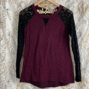 Maurices Maroon Purple Black Lace Sleeves Blouse S